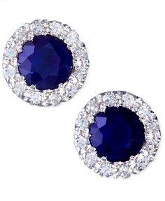 Gemma by Effy Sapphire (7/8 ct. t.w.) and Diamond (1/8 ct. t.w.) Round Button Earrings in 14k White Gold