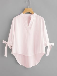 SheIn offers Tie Cuff Dip Hem Blouse & more to fit your fashionable needs. Mode Kimono, Trendy Outfits, Fashion Outfits, Fashion Fashion, Fashion Ideas, Vintage Fashion, Designs For Dresses, Schneider, Blouse Online