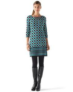 White House | Black Market Lattice Border Print Dress #whbm bought it love it, just need the boots