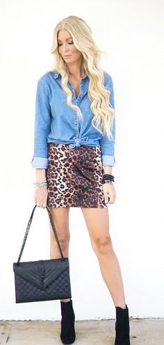 #fall #outfits  women's blue denim long-sleeve jacket with brown-and-black leopard skirt