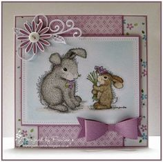 House-Mouse & Friends Monday Challenge: Buttons and Bows for Challenge House Mouse Stamps, Cartoon House, Animal Cards, Cards For Friends, Copics, Sympathy Cards, Flower Cards, Cute Cards, Greeting Cards Handmade