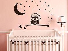 Perfect Details zu Wandtattoo Eulen Aufkleber Kinderzimmer M dchen Sterne Mond Ast Baby Baum