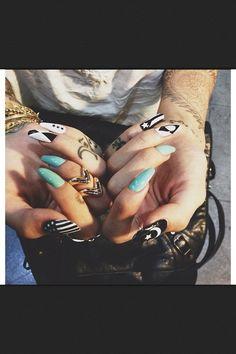 Stiletto nails with multi designs