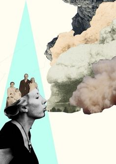 Art collage inspiration for DIY Postick postcards. Smoke, turquoise blue, black and white photograph.