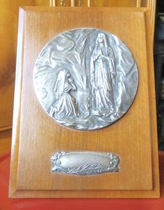 FRENCH Lourdes wood plate w/ silver medallion of Mary / Bernadette Altar stand by 2shoppingdiva on Etsy