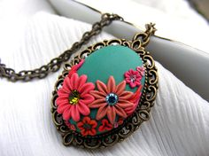 Flower necklace, bib strand statement necklace, eco friendly pendant, jewelry embroidery cabochon malachite green pink polymer clay pendant