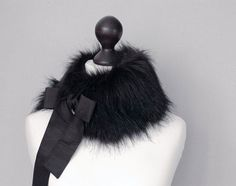SALE 15 OFF Black faux fur collar by imali on Etsy, $18.00