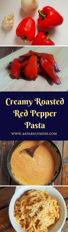 Healthy Creamy Roasted red pepper pasta. Creamy Roasted Red Pepper Pasta seasoned with fresh Parmesan and basil makes this an amazing meal. This recipe is silky smooth, luscious, healthy and absolutely addicting.This is not a hard recipe to execute. 30 minutes and this recipe is done, so quick, even quicker if you use jarred roasted red peppers instead of roasting your own.