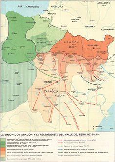 La unión de Navarra con Aragón y la reconquista del Valle del Ebro (1076-1134) Aragon, Map Of Spain, Alternate History, History Projects, 11th Century, Old Maps, City Maps, Historical Maps, World History