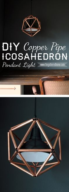 click through to learn how to make this amazingly cool icosahedron pendant light