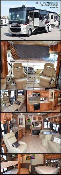 2016 Tiffin Motorhomes Allegro 35QBA Class A Gas Start your journey with the one that started it all. Now in its 44th year of production, the Allegro continues its legacy as a gateway to the open road. Affordably priced and packed with Tiffin innovations, this coach delivers everything you want in a motorhome at an incredible value.