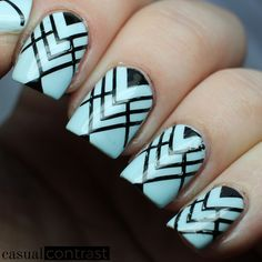 Pastel geometric nail art using a base of OPI: It's A Boy! from the Soft Shades 2016 Collection, then stamped with Bundle Monster: Noir Black and Born Pretty Store plate BP-77, sealed everything in with a coat of KBShimmer Clearly On Top