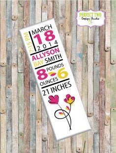 Wood birth announcement sign.  Nursery by Perfect2DesignStudio