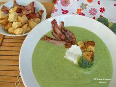 Supa-crema de broccoli cu bacon Bacon, Hummus, Cantaloupe, Pudding, Meat, Chicken, Ethnic Recipes, Desserts, Supe