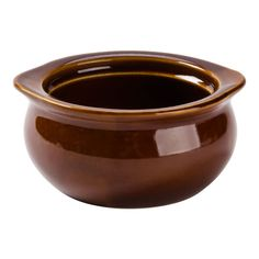 """This brown onion soup crock / bowl is a sturdy, simple solution for diners, restaurants, cafes and more. Perfect for serving side dishes and soups, this 12 oz. crock is fully vitrified to prevent moisture absorption, microwave and dishwasher safe, and oven safe at all temperatures, so you can serve your signature dishes time and time again.<br><br> <b><u>Overall Dimensions:</b></u><br> Top Diameter: 5"""" <br> Bottom Diameter: 3..."""