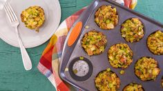 Stuffin Muffins from Rachael Ray. Bake in a  400 Degree Oven 10 - 15 minutes ~ FREEZE enjoy as leftovers later. (since no egg, you can freeze before baking).
