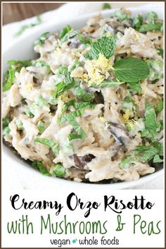 Creamy Vegan Orzo Risotto with Mushrooms and Peas | veggiesdontbite.com | #vegan…