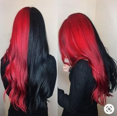 Pink-Red with Yellow Highlights - 20 Cool Styles with Bright Red Hair Color (Updated for - The Trending Hairstyle Hair Dye Colors, Ombre Hair Color, Hair Color For Black Hair, Cool Hair Color, Red Black Hair, Brown Hair, Burgundy Hair, Half And Half Hair, Split Dyed Hair