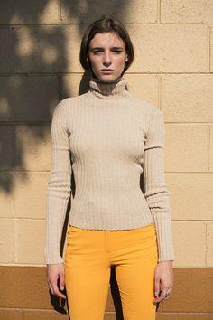 Shaina Mote - Camel Isla Sweater & Samuji Orange Pead Trouser | BONA DRAG