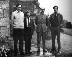 Gathering of mid-century poets. L-R: Richard Murphy, Douglas Dunn, Philip Larkin, Ted Hughes. The photograph taken November 1969 at Lockington in what is now East Yorkshire. Philip Larkin, British Poets, Ted, Kingston Upon Hull, Writers And Poets, Influential People, Sylvia Plath, Life Words, Light In The Dark