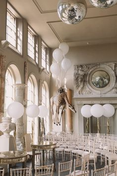 Giant Balloon Decor - Millar Cole Photography | Stylish Wedding at Aynhoe Park
