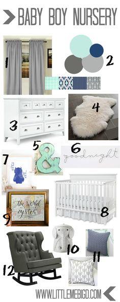 Nursery idea board! Little boy's room. Mint, gray, and navy!