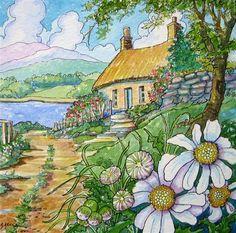 """Last Cottage on the Lane Storybook Cottage Series"" - Original Fine Art for Sale - © Alida Akers"