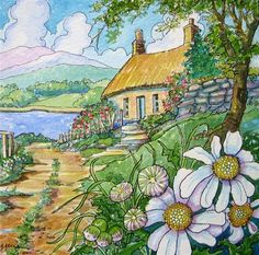 """Last Cottage on the Lane Storybook Cottage Series"" - Original Fine Art for Sale - © Alida Akers"