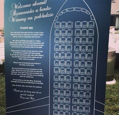 If you are having a themed wedding, your seating chart can be a fun and engaging way to kick off your reception. This travel-themed wedding featured a witty airplane safety brochure with guest names!