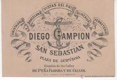 Tarjeta de visita Diego Campion: Ferretería, Quincalla... San Sebastián. siglo XIX