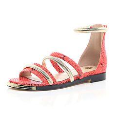 Red snake print strap gladiator sandals :In my shoe wardrobe