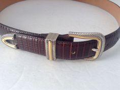 Brighton Men's 3 Piece Gold & Silver Tone Buckle Set Brown Leather Belt Sz 36   #Brighton