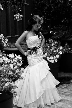 Kendra w/ black accents, dress  from Circle Park Bridal Boutique.