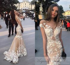 2018 Lace Mermaid Champagne Prom Dresses Amazing Scoop Lace Flowers Appliqued Open Back Women Sexy Formal Evening Gowns Party Dress Prom Dress with Sleeve Lace Evening Dress Mermaid Prom Gowns Online with $169.15/Piece on Readygogo's Store | DHgate.com