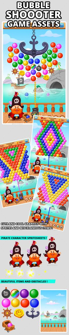 Buy Bubble Shooter Game Assets by on GraphicRiver. Bubble Shooter game assets for bubble shooter puzzle game. The game concept is shooting balls from pirate cannon t. Jeopardy Game Template, Powerpoint Game Templates, Board Game Template, Dog Design, Game Design, Free Game Assets, Bubble Shooter Games, Kit Games, Ipad
