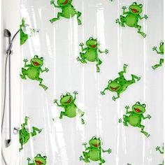 Elegant LITTLE KIDS DESIGNER Shower Curtain | Froggy: Frog Shower Curtains   Frog  Design Vinyl Shower