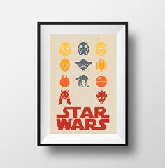 Star Wars Cross Stitch Pattern PDF Instant Download R2D2 C3Po Yoda Darth Wader Boba Fett
