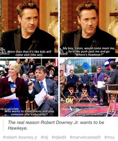 AAAAAWWWWWWWW SO CUTE RDJ'S Son LIKES HAWKEYE THIS IS SOOOOO SWEET I JUST CANT EEEEEE ❤️❤️❤️❤️❤️❤️