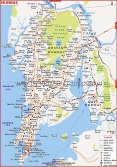 Mumbai, capital city of Maharashtra and a financial center of India. Find Mumbai city map that guide you about major roads, railways, hotels, hospitals and other land marks. Mumbai Map, Mumbai Metro, Mumbai City, Tourist Map, Tourist Places, World Map Outline, Free Invitation Cards, City Information, Accessories