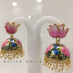I love lotus jhumkis Royal Jewelry, Gems Jewelry, Beaded Jewelry, Silver Jewelry, Indian Earrings, Indian Jewelry, Terracota Jewellery, Oxidised Jewellery, Antique Earrings