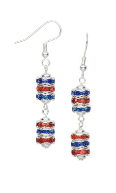 FMG 98GJ Earrings with Silver-Plated Rhinestone Rondelle Beads and Silver-Plated…
