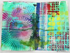 Julie Balzer - one of her art pieces for Dina Wakely's  Blog Hop; using Dina's new paints and brushes.