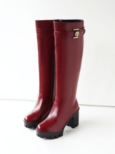 461f23fa325d Sexy Women Mid Calf Knee High Heel Ridding Boots Chunky Platform Pump Shoes