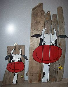 Wood Painting Art, Pallet Painting, Painted Boards, Painted Rocks, Wood Pallet Art, Barn Wood Crafts, Cow Art, Happy Paintings, Pictures To Paint