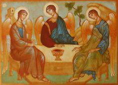 The Holy Trinity (Icon) / La Santísima Trinidad // By Julia Stankova Sacred Art, Bible Art, Catholic, Icons, Gallery, Painting, Wisdom, Roof Rack, Symbols