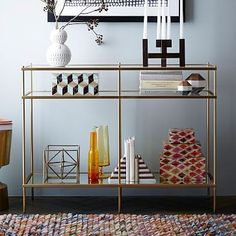 I love this for the end of the mezz. not too overpowering and we can jazz it up nicely.  Terrace Console #westelm