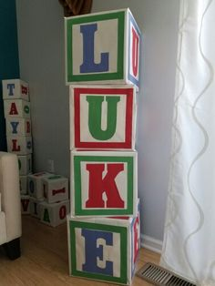 ABC party blocks Cardboard boxes, craft paper, letter patterns, and glue