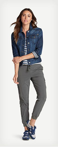 Women's casual Fall outfit featuring Classic Jean Jacket, Gypsum Tank Top - Stripe, Myriad Cargo Pants and Eddie Bauer Siris shoes