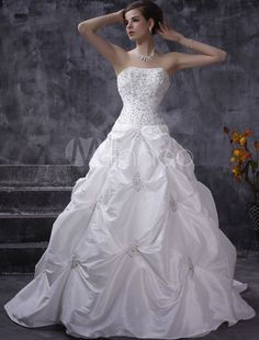 65bce3e26c5 Strapless Draped Taffeta Ball Gown Style Wedding Dress on sale