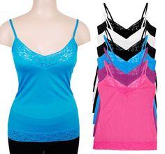 6-Pk Women's Wholesales Lot Basic Lace Camisoles Tank Tops #093H